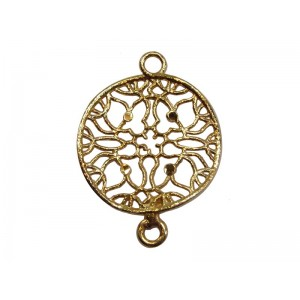 Silver with Yellow Gold Plating Filigree Diamond-Cut Round Connector
