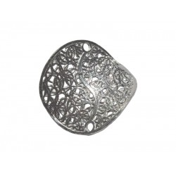 Sterling Silver 925 Swirl Filigree Round 'Pringle' Connector