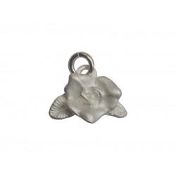Sterling Silver 925 Matt Rose Charm