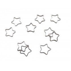 Sterling Silver 925 Simple Star Frame Charms, Pack of 10