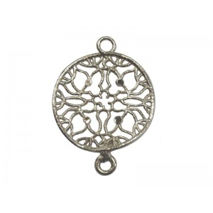 925 Sterling Silver Filigree Diamond-Cut Round Connector