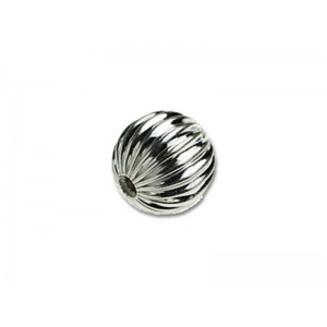 Sterling Silver 925 Round Corrugated Bead 10mm