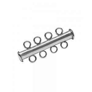 Sterling Silver 925 4 Strand Tube Clasp Silver Locks, Clasps, Toggles