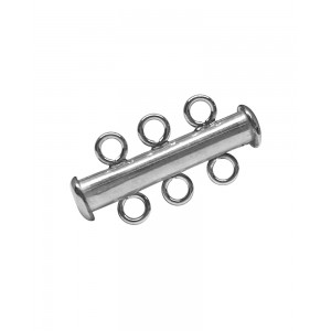 Sterling Silver 925 3 Strand Tube Clasp Silver Locks, Clasps, Toggles