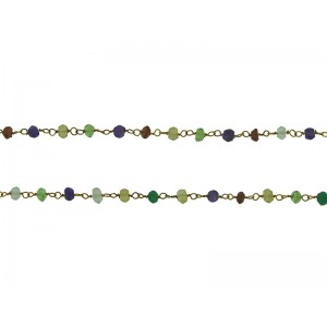 Sterling Silver 925 Gold Plated Wire Wrapped Chain with Mixed Faceted Beads
