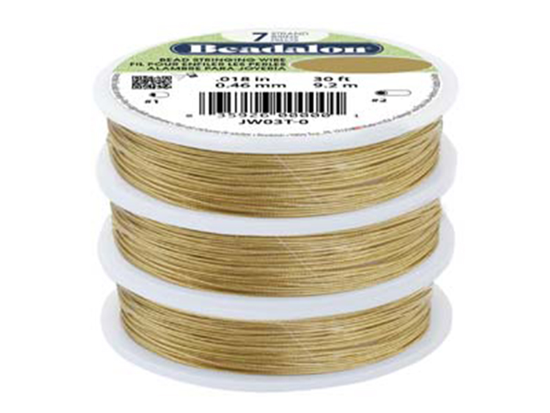 7 Strand Bead Stringing Wire, .020 in (0.51 mm), Gold Color, 30 ft (9.2 m)
