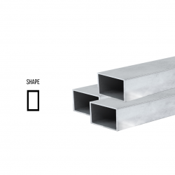 Sterling Silver 925 Rectangular tube ex. D 8mm x 6mm, 0.5mm wall