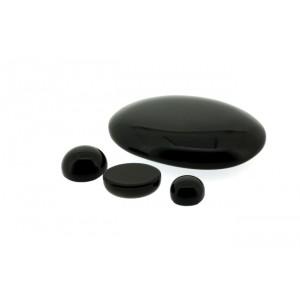 Onyx  Cabs, Black, Oval, 7 x 9 mm