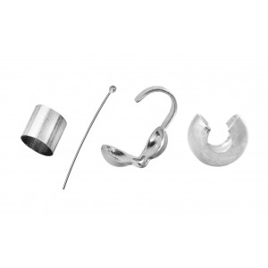 Silver Head Pins, Crimps, Crimp Covers, Wire Protectors, etc.