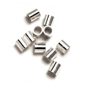 Sterling Silver 925 small Cut Crimp Tube 1.5 x 2mm, I/D 0.9mm