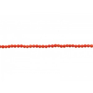Coral Pressed Round Beads, Orange, 2 mm