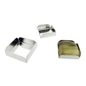 Sterling Silver 925 Square Bezel Cup with fold-over walls 4mm